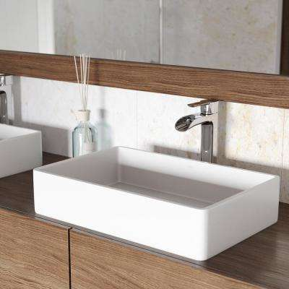 Magnolia Matte Stone Vessel Sink In White With Niko Vessel Faucet ...