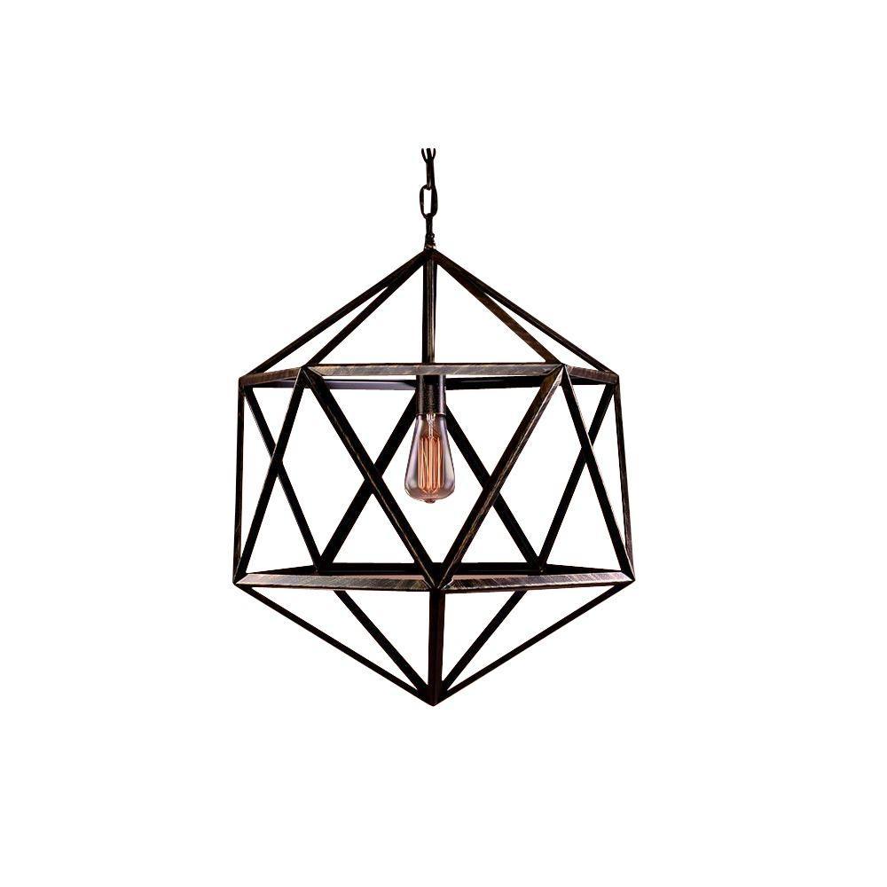 Caged 1-Light Black Steel Chandelier