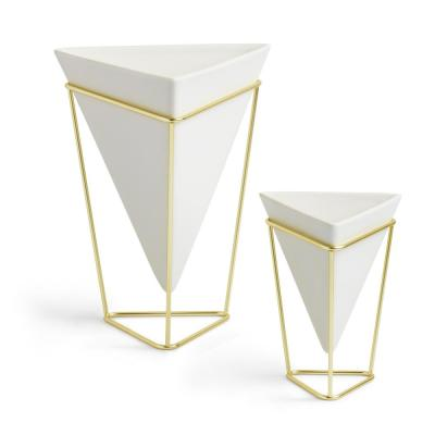 White Trigg Ceramic Tabletop Decorative Planter Pots - Large and Small (2-Set)