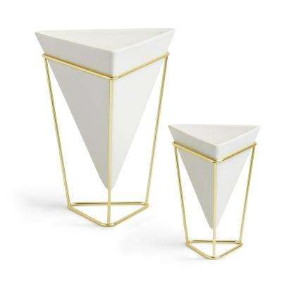 White Trigg Ceramic Tabletop Small Plus Large Planter (2-Set)
