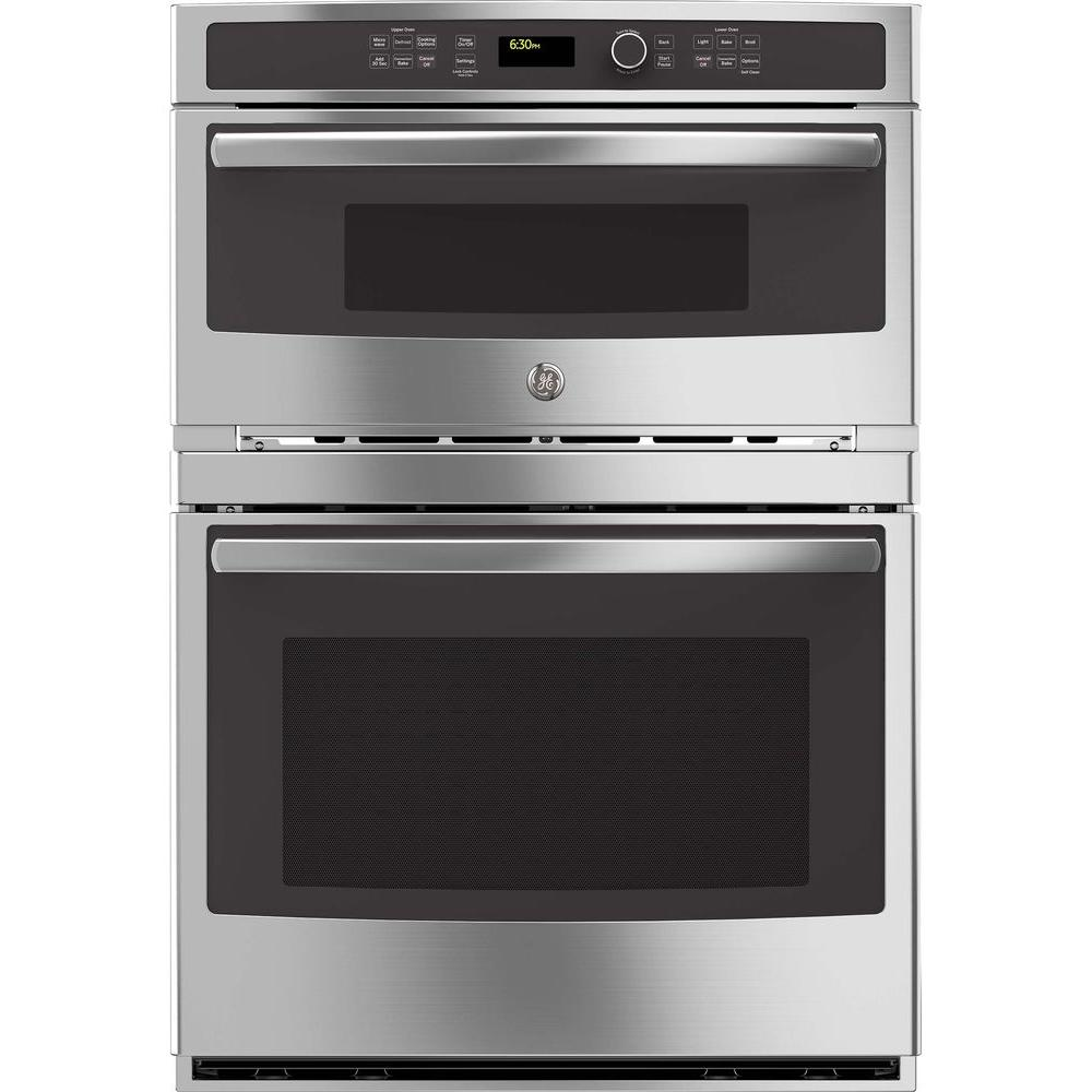 GE Profile 30 in. Double Electric Wall Oven with Convection Self-Cleaning and Built-In Microwave in Stainless Steel