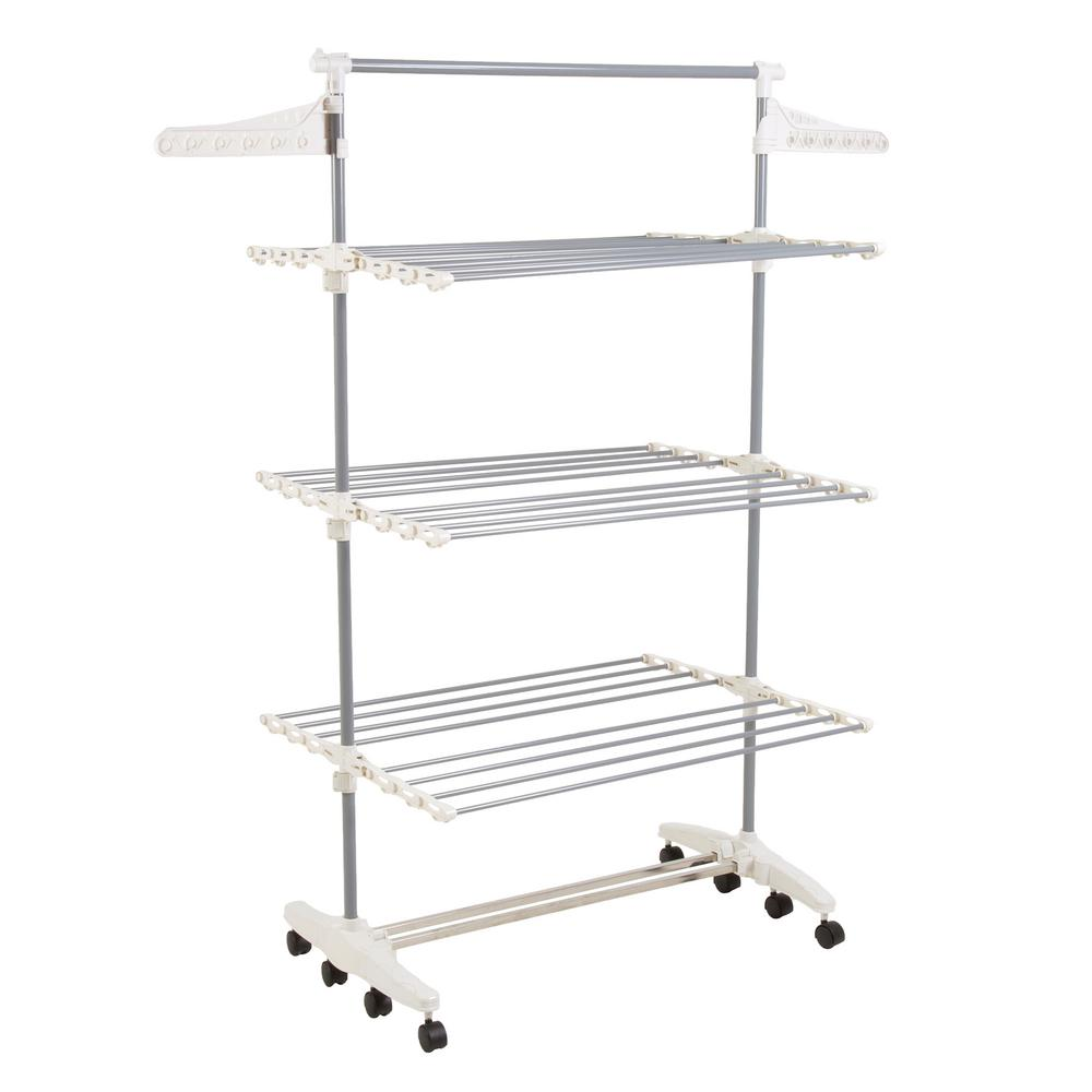 Everyday Home 25.5 in. x 72 in. 3-Tier Freestanding Stainless Steel Laundry Rack