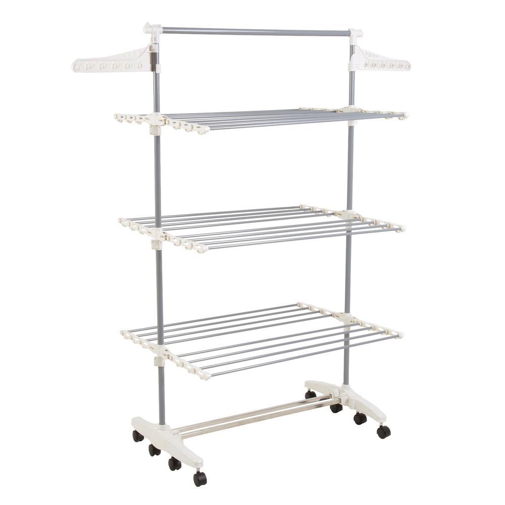 25.5 in. x 72 in. 3-Tier Freestanding Stainless Steel Laundry Rack