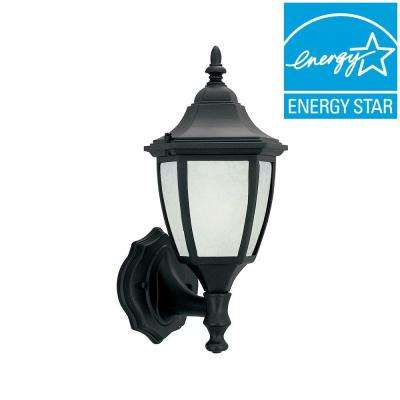 Designers Value 1-Light Solid Black Outdoor Wall Lantern with Glacier Glass Shade