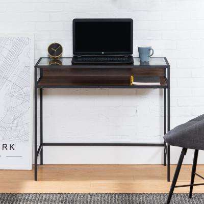 35 in. Dark Walnut Metal and Wood Compact Desk with Glass