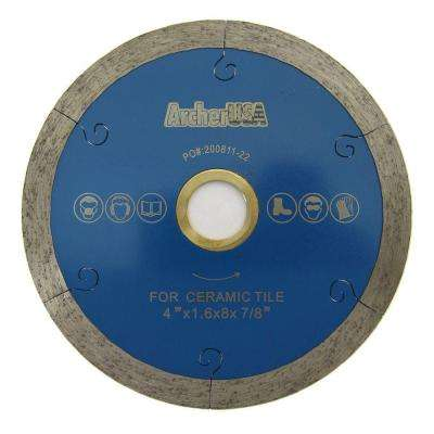 4 in. Continuous Rim Diamond Blade with J-Slot for Tile Cutting