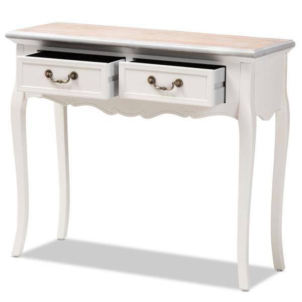 Genial Baxton Studio Capucine 2 Drawer White Console Table