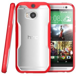 SUPCASE Unicorn Beetle Hybrid Bumper Case for HTC One M8, Clear/Red by