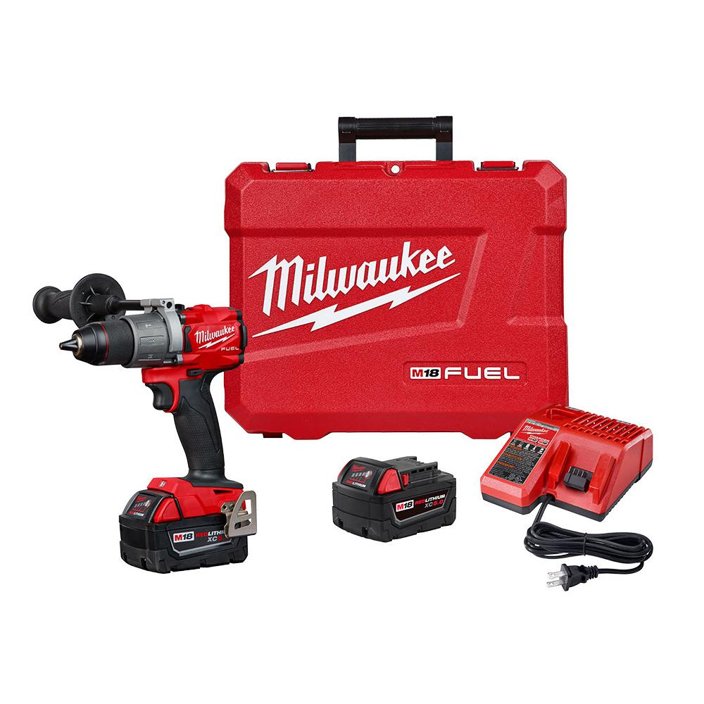 M18 Fuel 18 Volt Lithium Ion Brushless Cordless 1 2 In Hammer Drill Driver Kit With Two 5 0 Ah Batteries And Hard Case