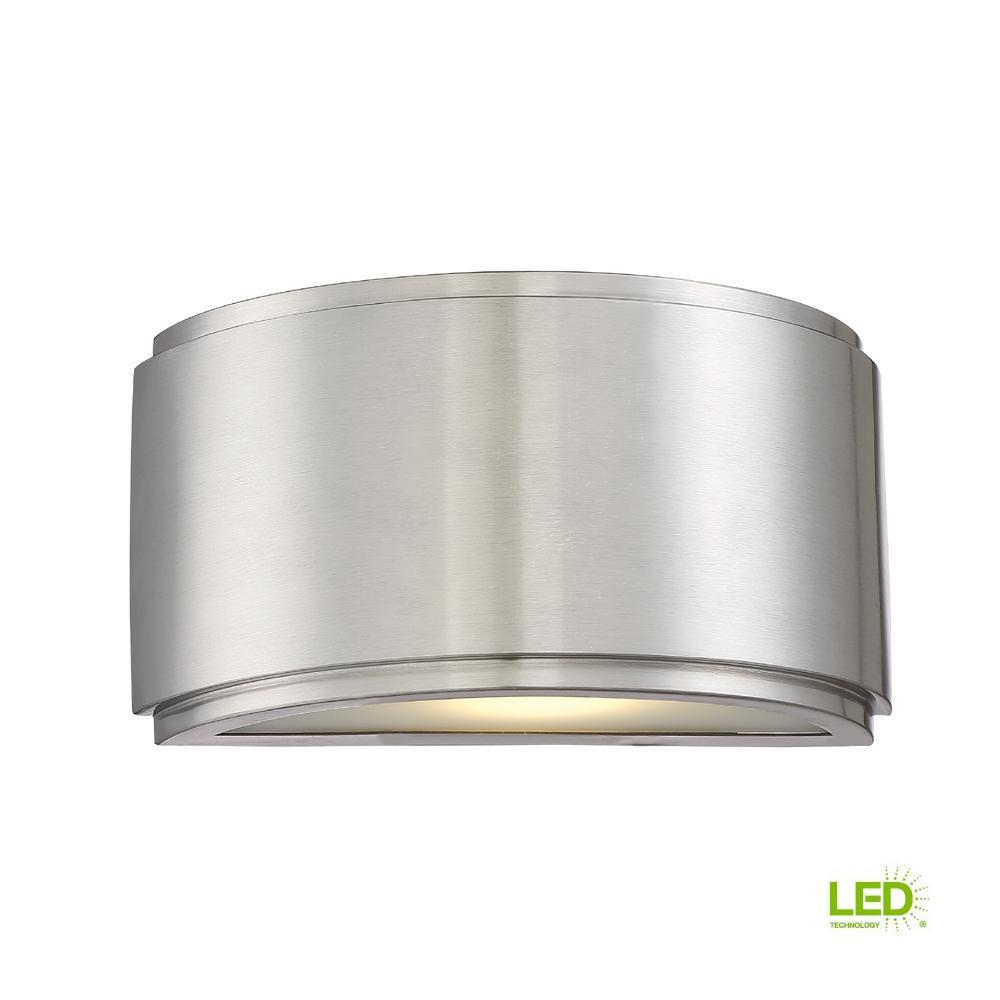 Halsey 13-Watt Brushed Aluminum Indoor/Outdoor Integrated LED Wall Mount Lantern