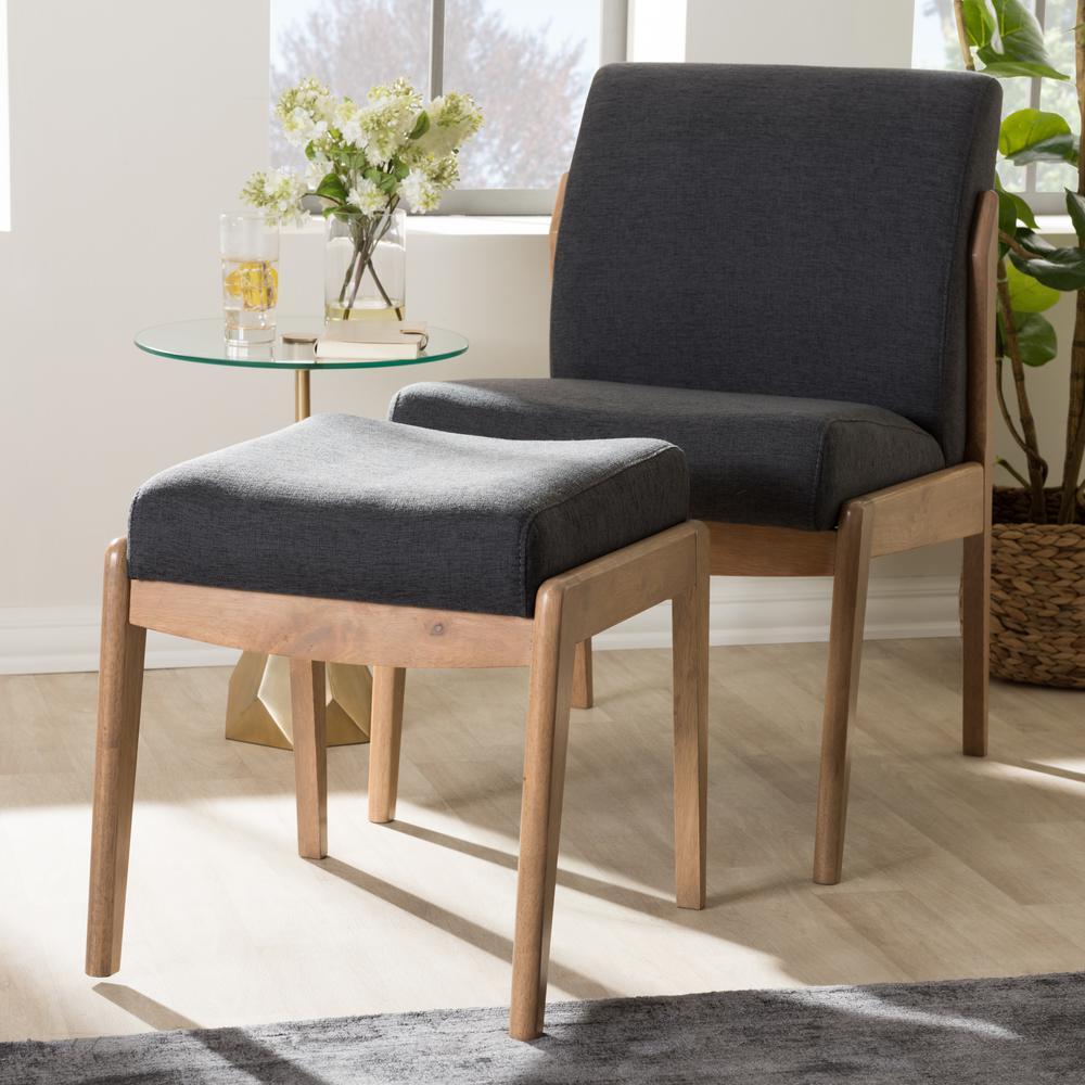 Wera Dark Grey Lounge Chair and Ottoman Set