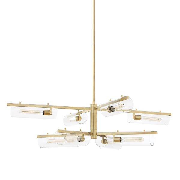 Ariel 8-Light Aged Brass Chandelier with Clear Shade
