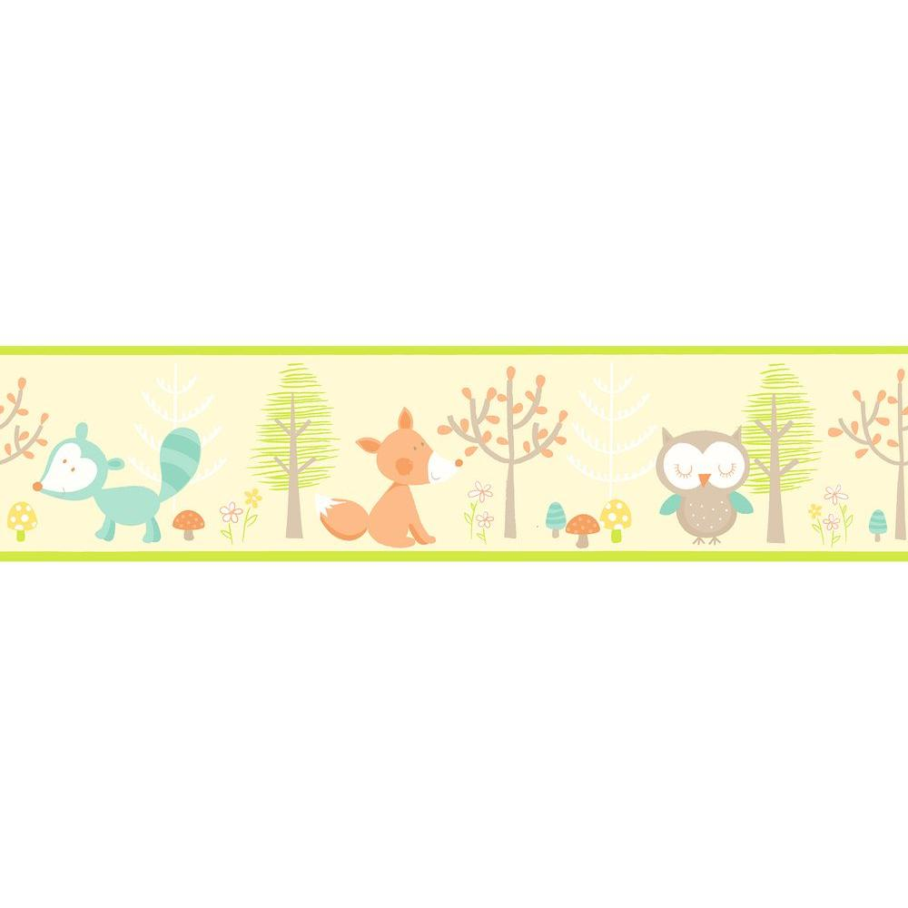 Brewster Happy Forest Friends Yellow Wallpaper Border