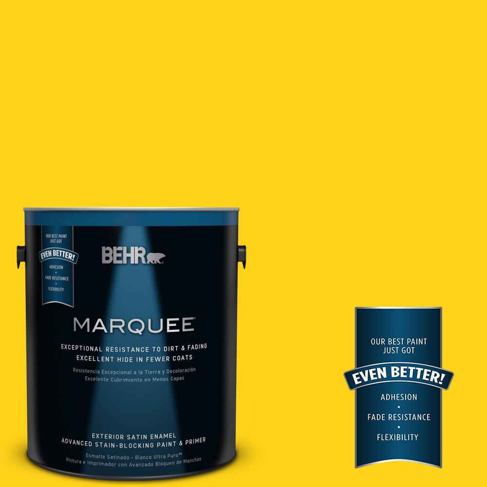 BEHR MARQUEE 1-gal. #S-G-390 Lemon Zest Satin Enamel Exterior Paint