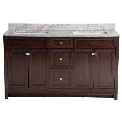 Brinkhill 61 in. W x 22 in. D Bathroom Vanity in Chocolate with Stone Effect Vanity Top in Winter Mist with White Sink