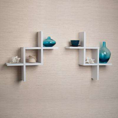 Contempo 17 in. W x 17 in. H White MDF Reversed Criss Cross Framing Shelves (Set of 2)