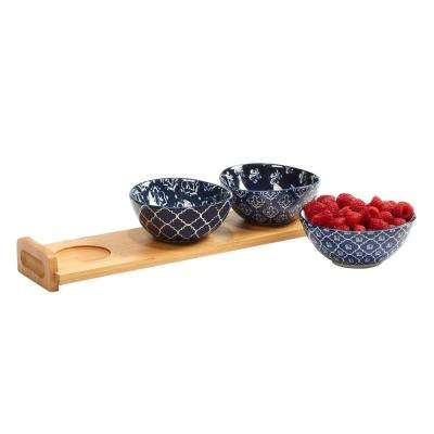 Blue Indigo 4-Piece Blue Serving Bowl Set with Bamboo Tray