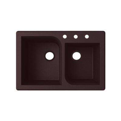 Dual-Mount Granite 33 in. x 22 in. 3-Hole 55/45 Double Bowl Kitchen Sink in Espresso