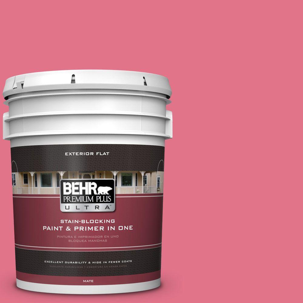 BEHR Premium Plus Ultra 5-gal. #120B-6 Watermelon Pink Flat Exterior ...