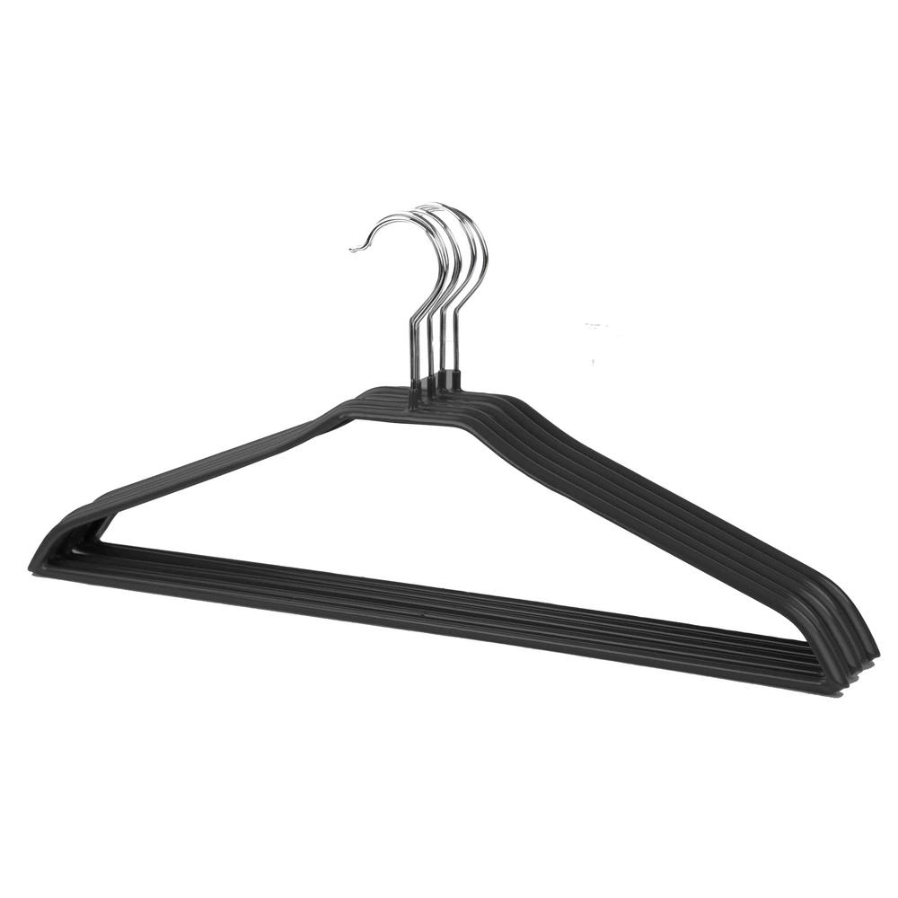 Home Basics Black Metal Vinyl Coated Non Slip And Snag Free Suit Hanger 5 Pack