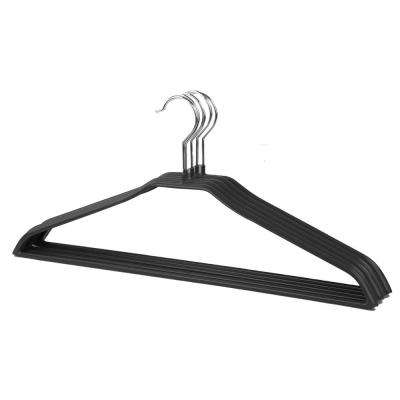 Black Metal Vinyl Coated Non-Slip and Snag-Free Suit Hanger (5-Pack)