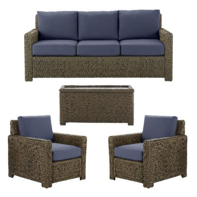 Laguna Point Brown 4-Piece Wicker Outdoor Patio Deep Seating Set with CushionGuard Midnight Navy Blue Cushions