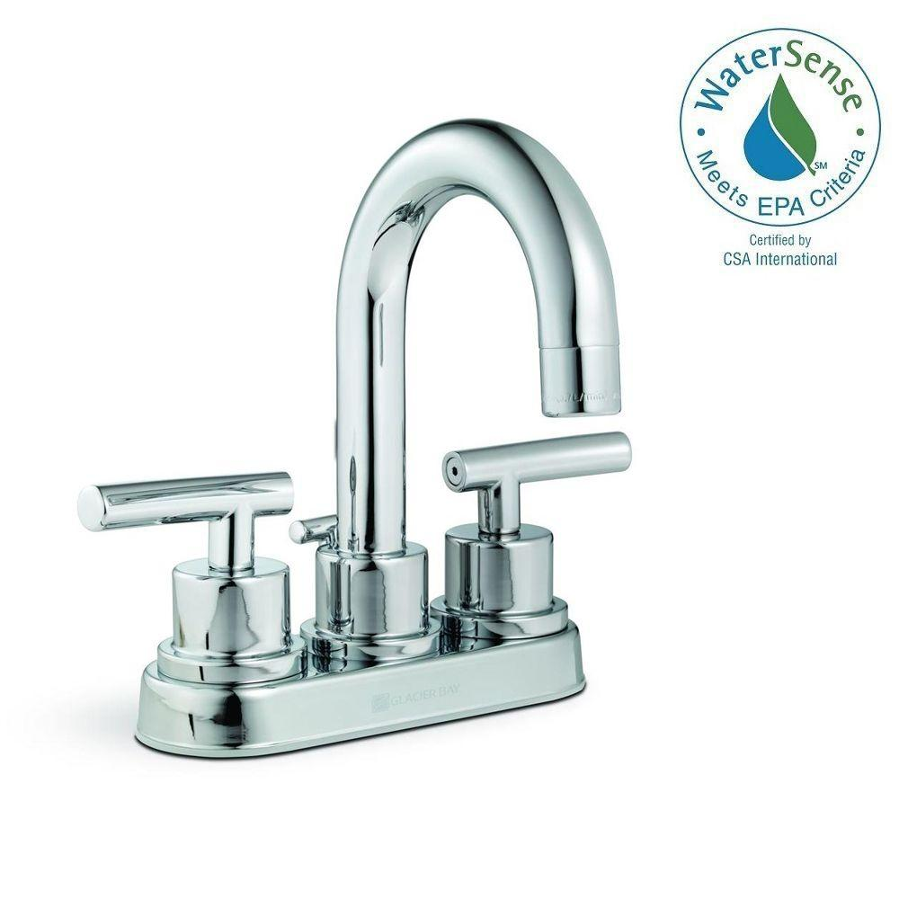 Glacier Bay Dorset 4 in. Centerset 2-Handle High-Arc Bathroom Faucet with Pop-up Assembly in Chrome