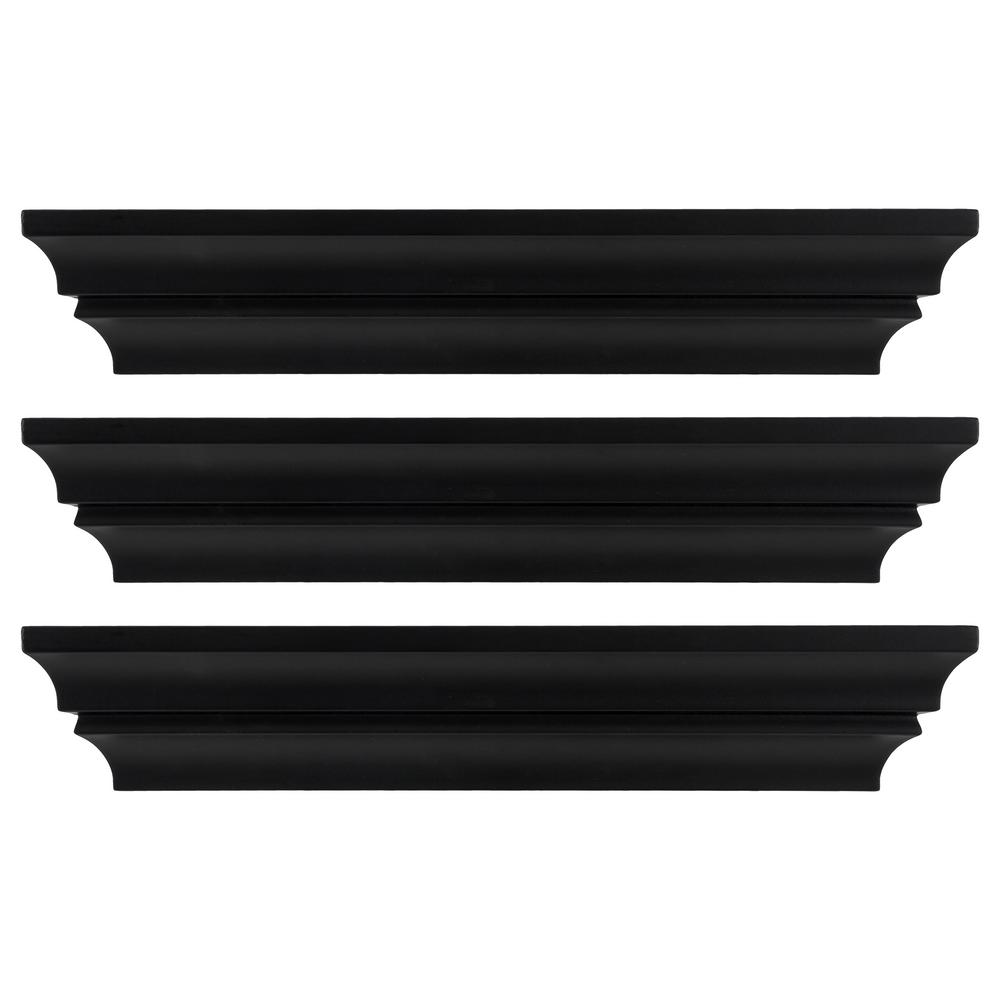 Madison 16 in. x 4 in. Black Contoured Wall Ledge and
