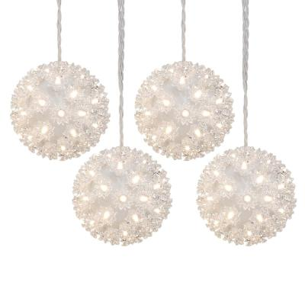 5.5 in. 200-Light Warm White LED Hanging Spheres (4-Pack)