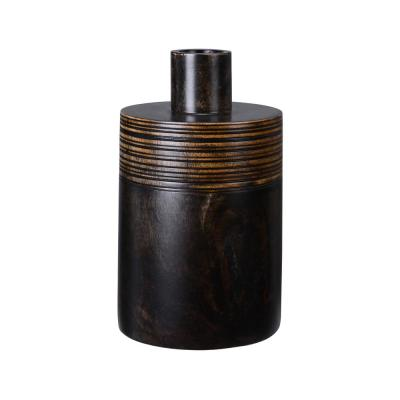 10 in. Black Handmade Oval Mango Wood Decorative Jar with Lid