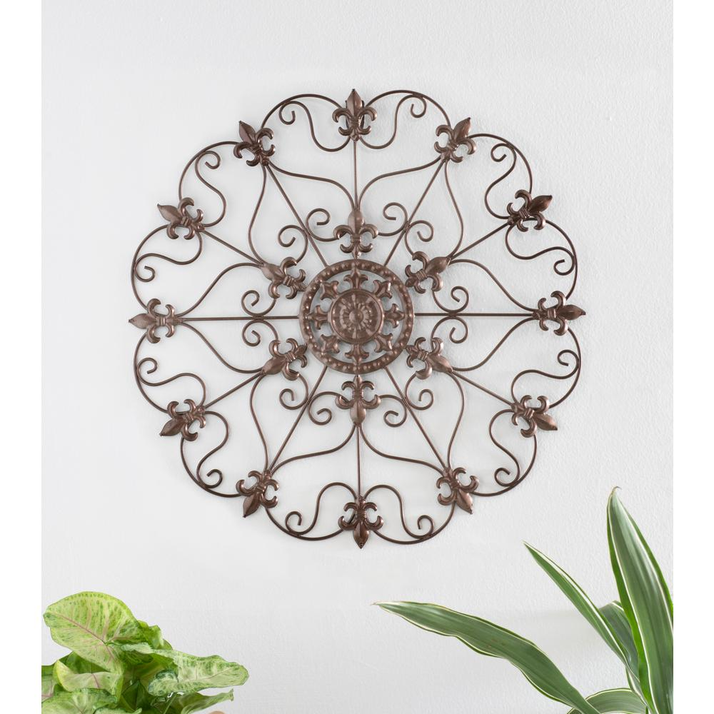 16 in. Round Fleur Die Lis Wall Decor Antique Gold Iron