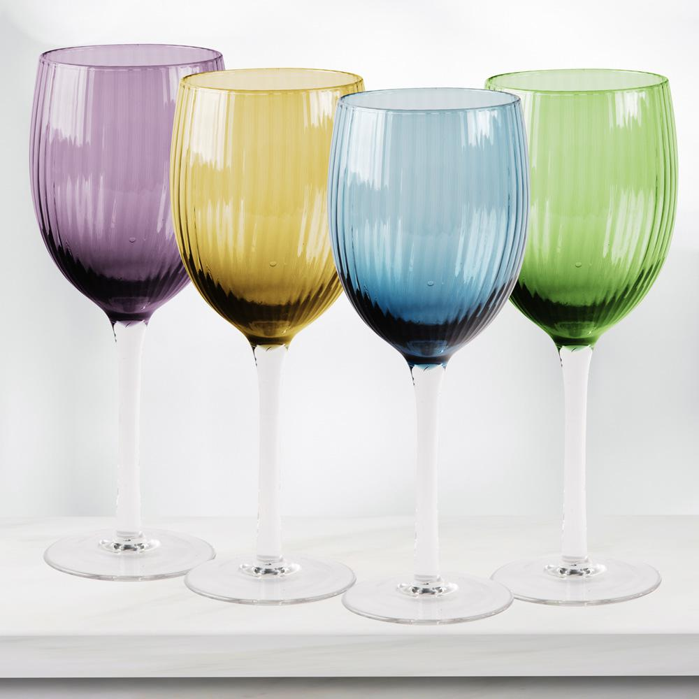 HOME ESSENTIALS & BEYOND Jewel 4-Piece Assorted White Wine Glasses ...