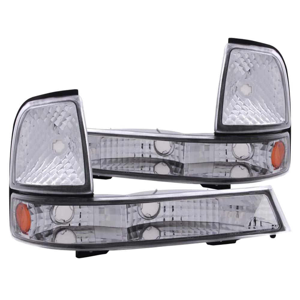 1998 2000 Ford Ranger Euro Parking Lights Chrome W Amber Reflector