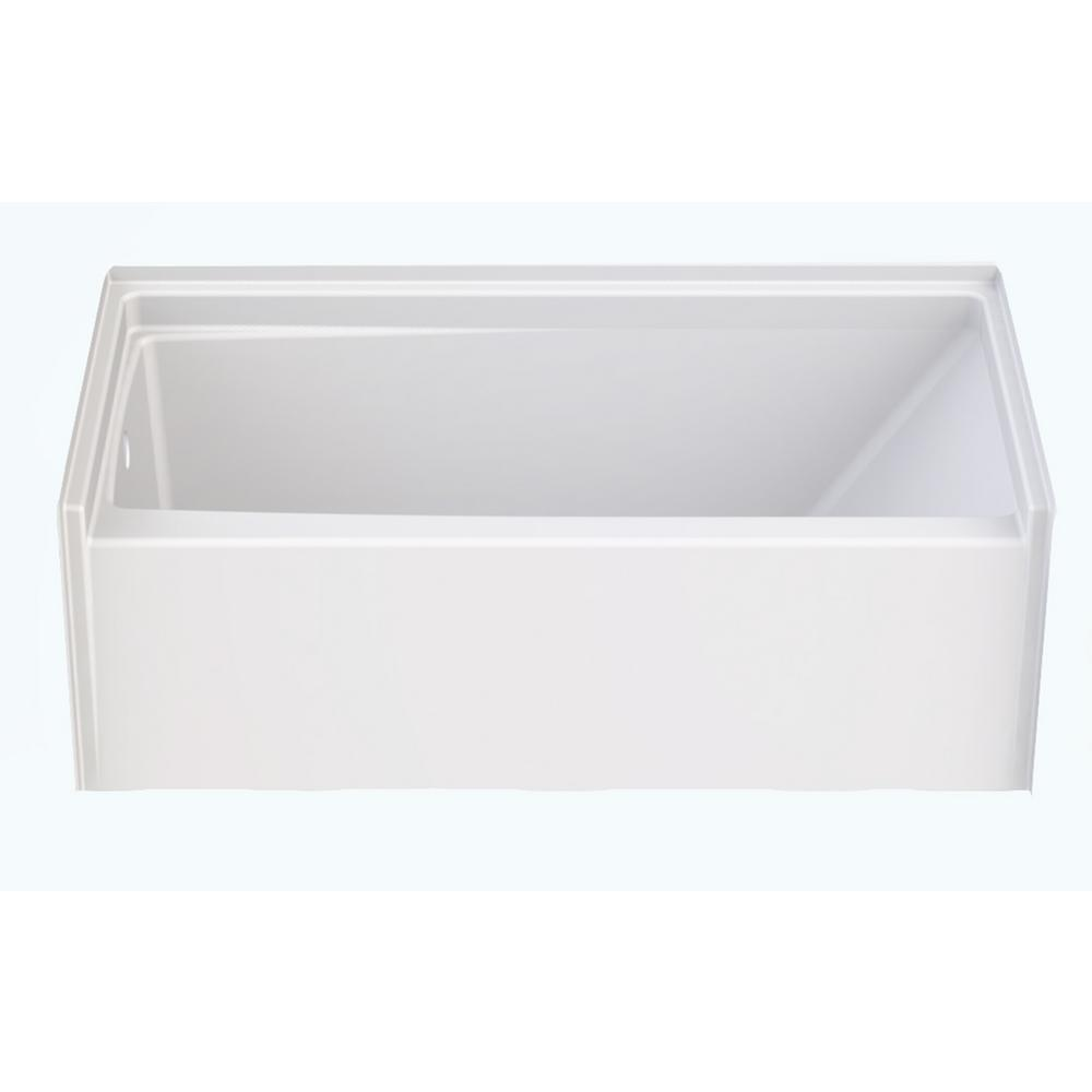 Aquatic Capistrano 60 in. AcrylX Acrylic-Finished Left Drain Rectangular Alcove Soaking Bathtub in White