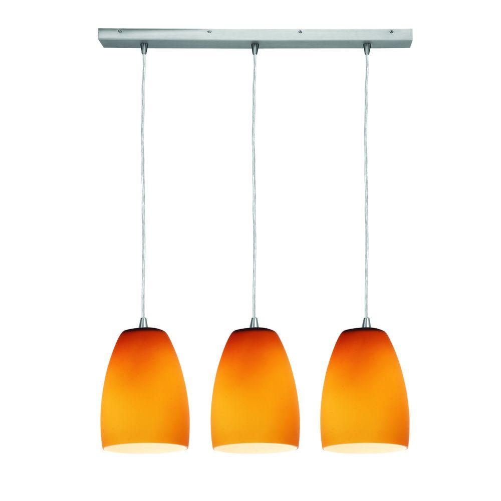 Access Lighting 3-Light Pendant Oil Rubbed Bronze Finish Amber Glass-DISCONTINUED