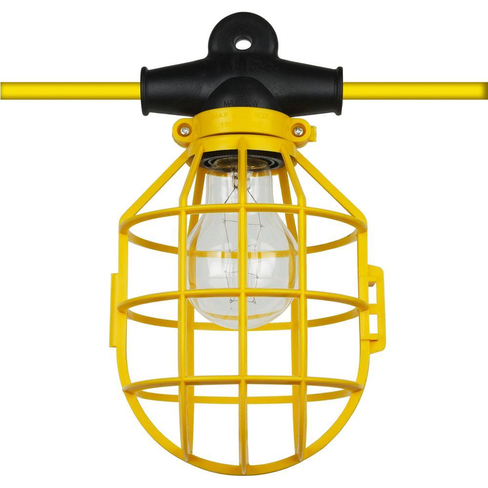 100 ft. 14/2/SL 10-Light Indoor Outdoor Commercial Grade Work Cage String Lights - Yellow