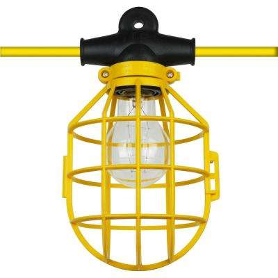100 ft. 14/2/SL 10-Light Indoor Outdoor Commercial Grade Work Cage String Lights - Yellow