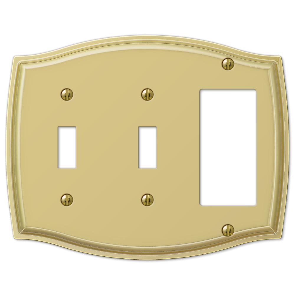 Vineyard 3 Gang 2-Toggle and 1-Rocker Steel Wall Plate - Polished Brass