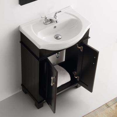 Hudson 24 in. W Traditional Bathroom Vanity in Black with Ceramic Vanity Top in White with White Basin