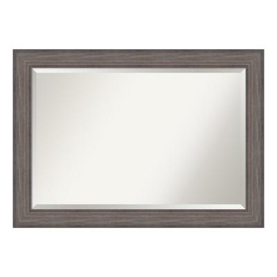 Country 42 in. W x 30 in. H Framed Rectangular Beveled Edge Bathroom Vanity Mirror in Rustic Barnwood