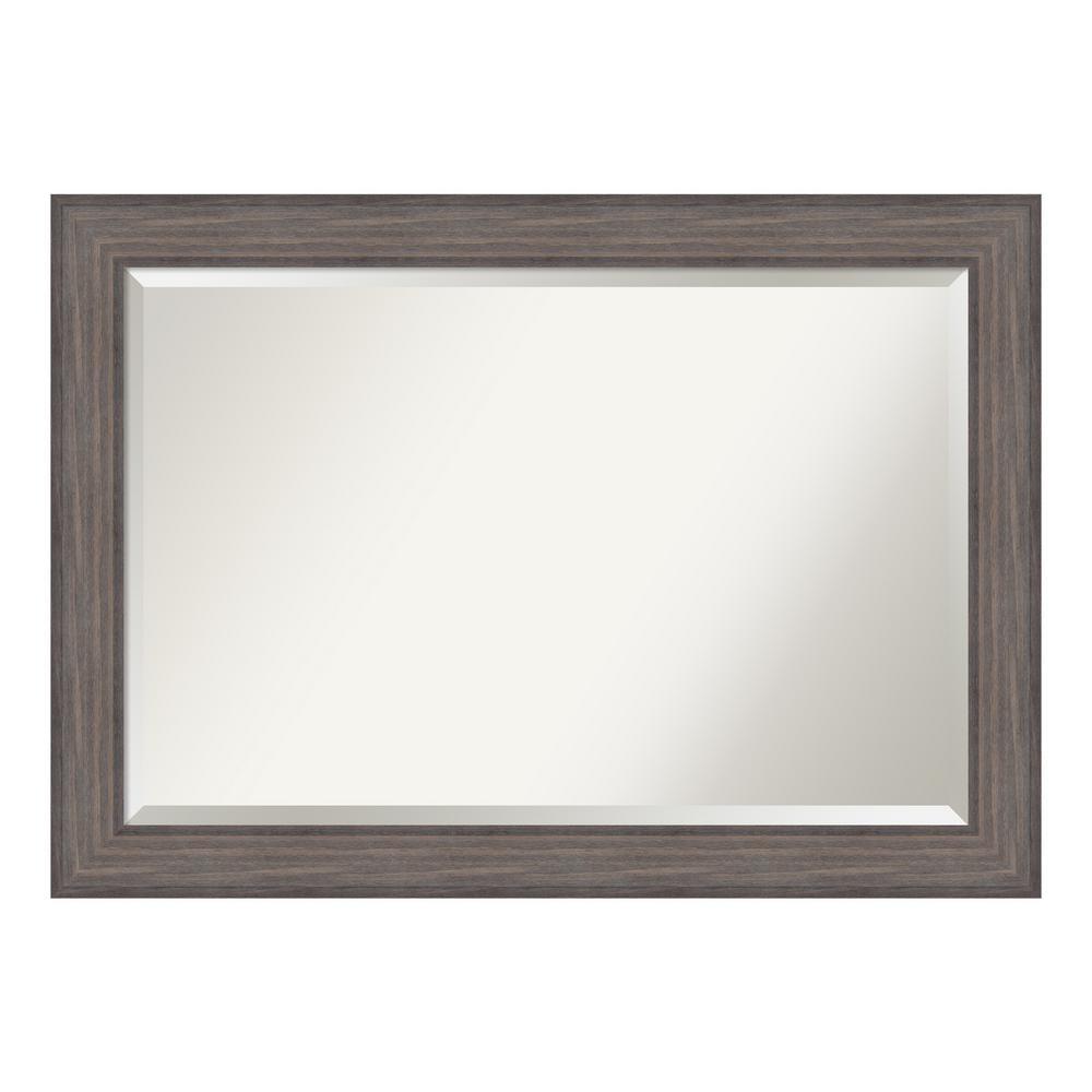 Country Rustic Barnwood Wood 42 in. W x 30 in. H Single Distressed Bathroom Vanity Mirror