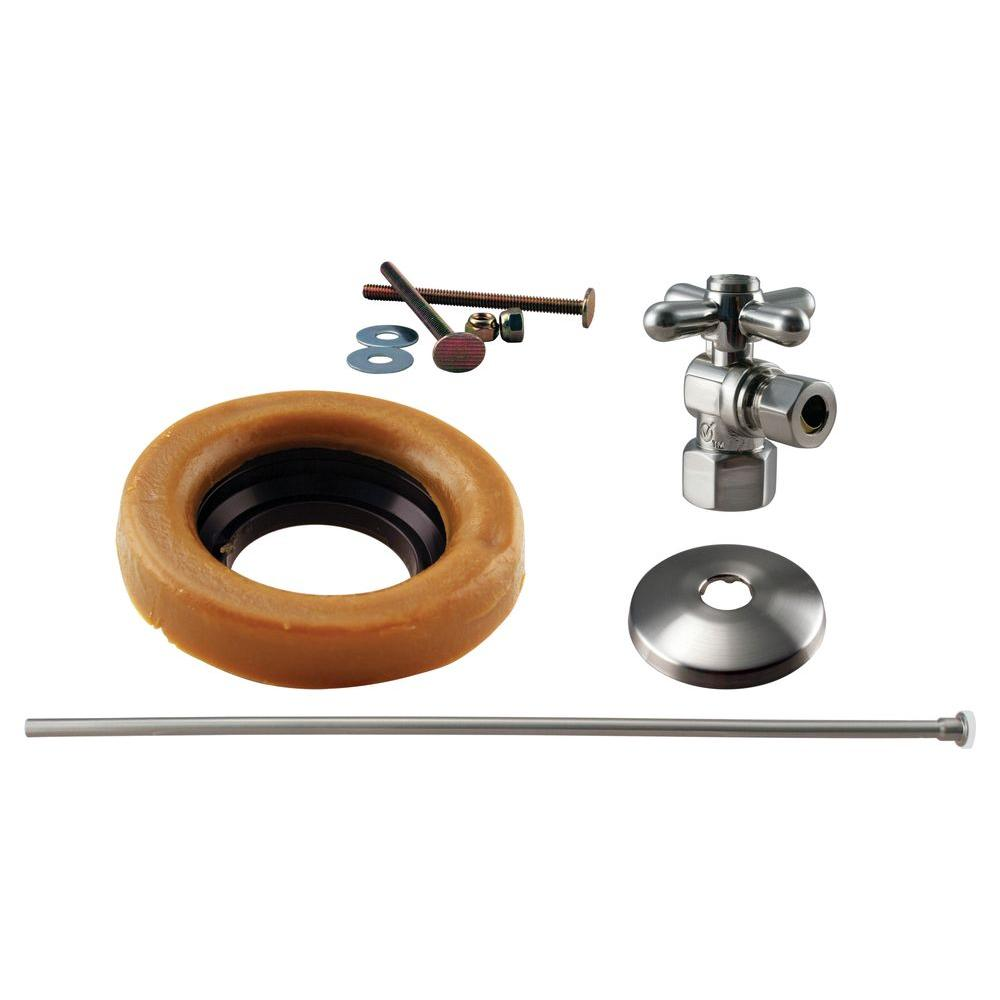 Westbrass 1/2 in. IPS Cross Handle Angle Stop Toilet Installation Kit with Brass Supply Line in Satin Nickel