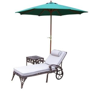 5-Piece Cast Aluminum Outdoor Lounge set with 2 Chaise Lounges, 17 inch Side Table, 9 ft. wooden Umbrella and... by