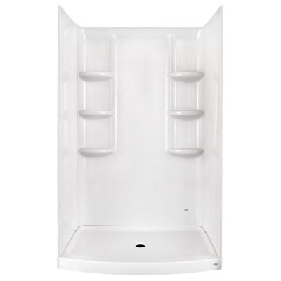 Ovation 30 in. x 48 in. 3-piece Direct-to-Stud Shower Wall in Arctic White