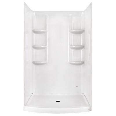 Ovation 30 in. x 48 in. x 72 in. 3-piece Direct-to-Stud Shower Wall in Arctic White