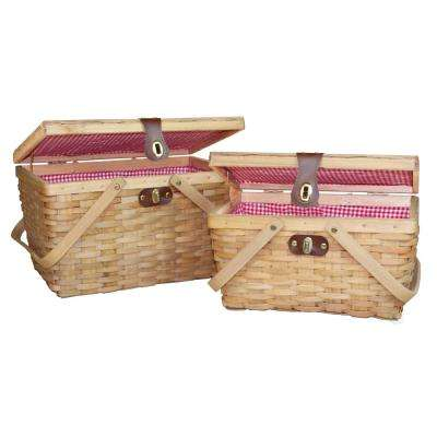 14.5 in. W x 10 in. D x 8.8 in. H Wood Gingham Lined Picnic Baskets (Set of 2)