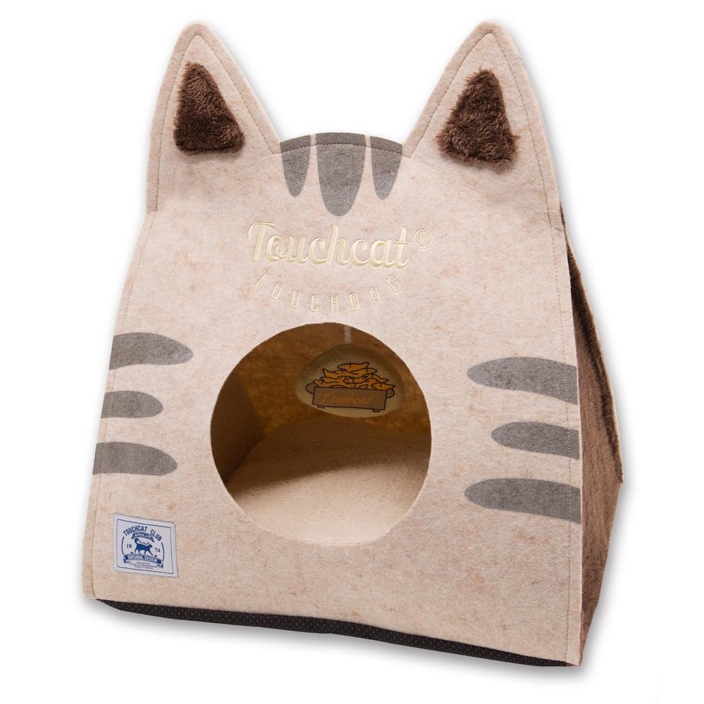 Brown Kitty Ears Travel On-The-Go Collapsible Folding Cat Pet House Bed