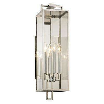 Beckham 4-Light Polished Stainless 28.5 in. H Outdoor Wall Mount Sconce with Clear Glass