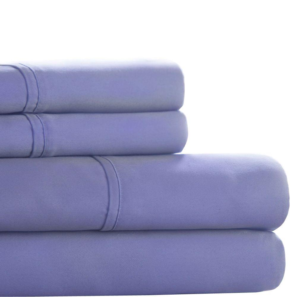 Lavish Home Periwinkle 300 Count Egyptian Cotton Queen Sheet Set (4-Piece)