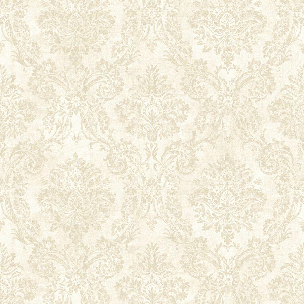 Chesapeake Kent Grey Garden Damask Wallpaper Sample MEA79153SAM